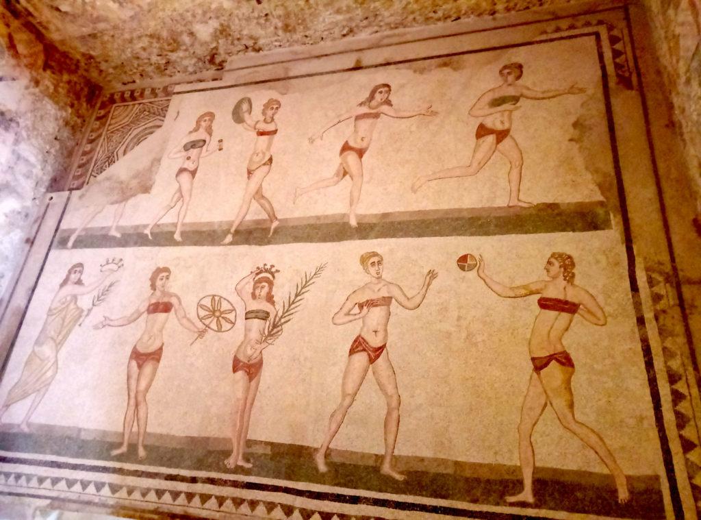 Mozaika z Villa Romana przedstawiająca kobiety uprawiające sport